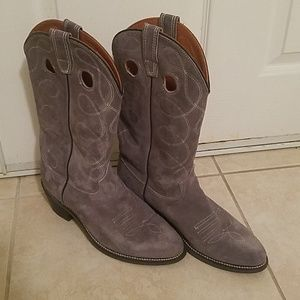 Wolverine Grey Leather/Suede Cowboy Boots 9.5
